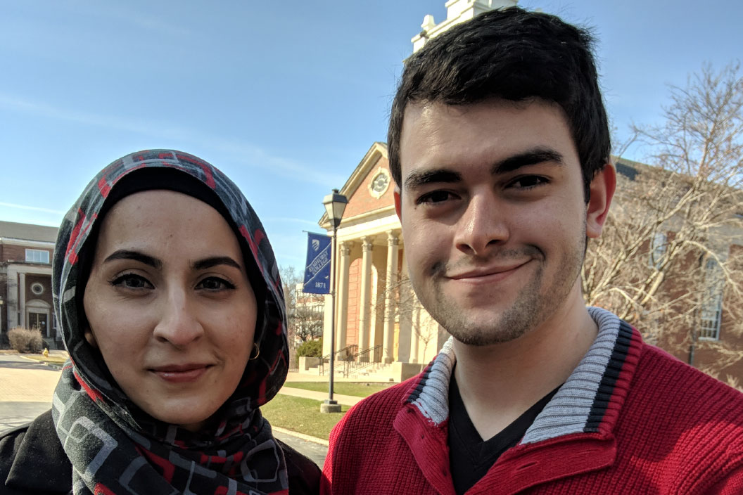 Elmhurst College and Illinois Student Employee of the Year Andrew Dufour '19 with his supervisor, Saaema Aslam.