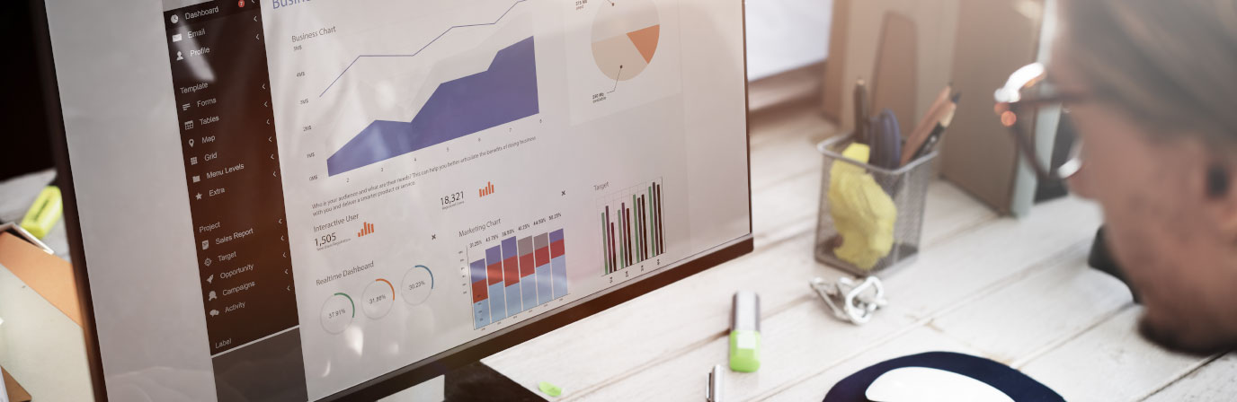 With the future of big data on the horizon, graduate students with a data science degree will be in high demand. Pictured here is a student reviewing a data dashboard.
