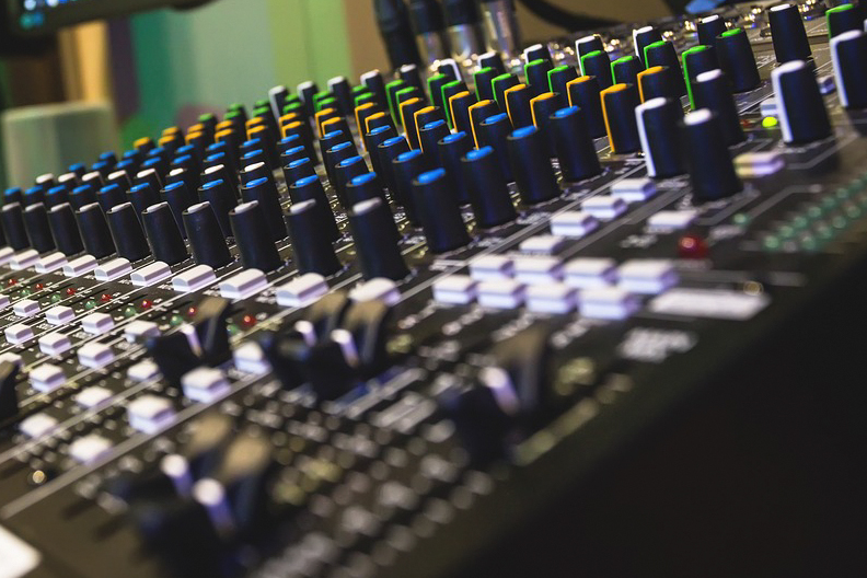 An image of a soundboard, the type used by digital media students.