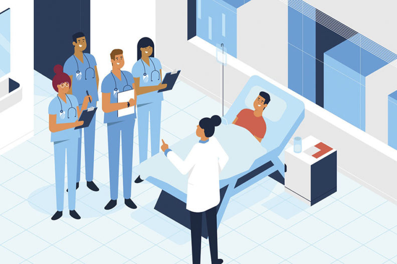 """An illustration of a doctor answering """"How long does it take to become a nurse?"""" to a group of students in a medical setting."""