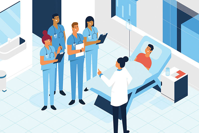 "An illustration of a doctor answering ""How long does it take to become a nurse?"" to a group of students in a medical setting."