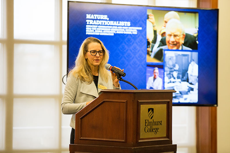 Soni Simpson, associate professor of business administration at Elmhurst College, presents during the ABCs of Gens Y and Z symposium on March 1.