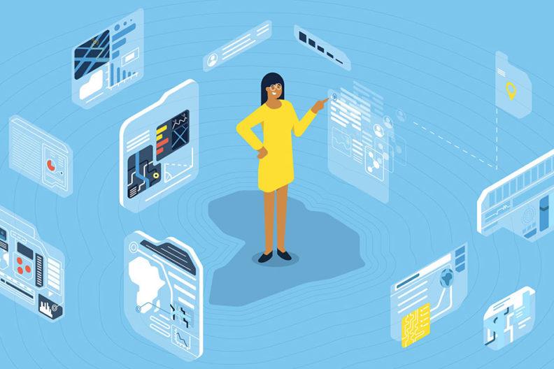 """An illustration of a woman surrounded by geographic information, visually answering the question, """"What is GIS?"""""""