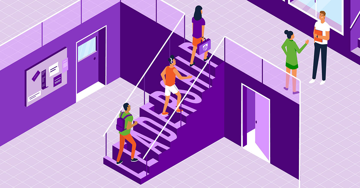 An illustration of students walking up steps that spell out teacher leadership.