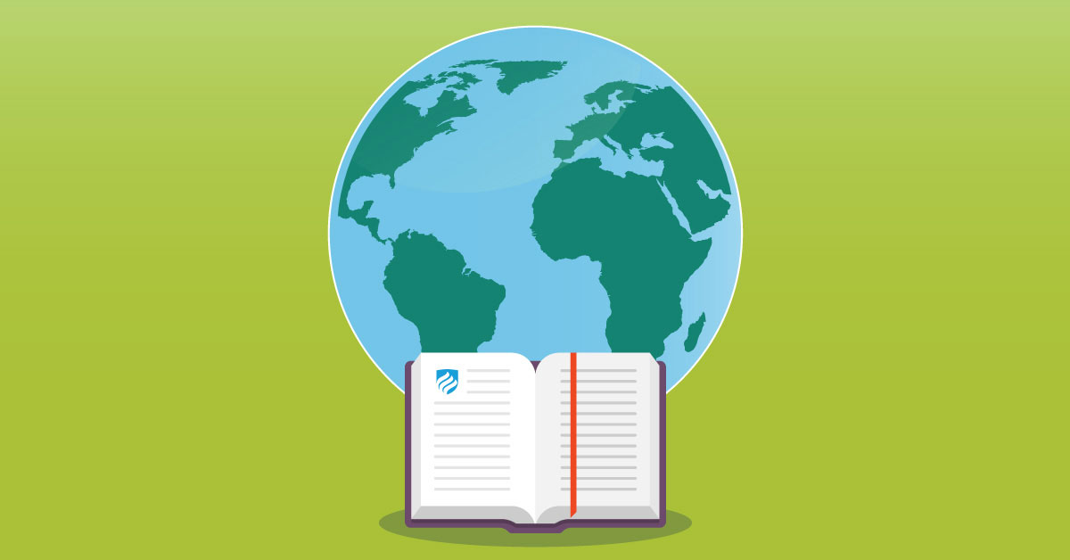 """An illustration of an open academic textbook in front of the planet Earth that answers the question """"Why an environmental studies major?"""""""