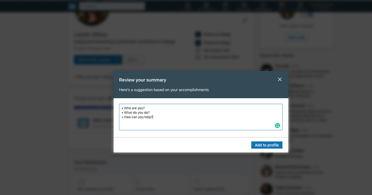 "A screenshot of the ""add summary"" function on a LinkedIn profile."