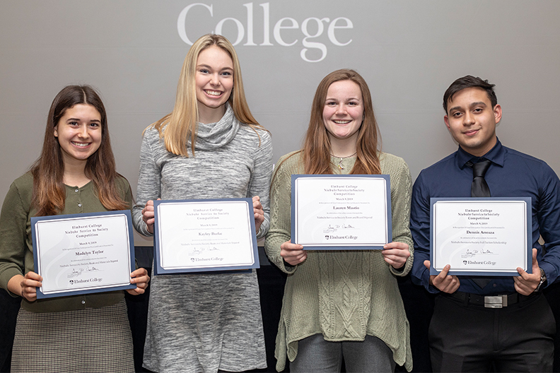 A photo of the winner and finalists of the Niebuhr Service to Society scholarship presented by Elmhurst College. The scholarship comes with financial aid opportunities.