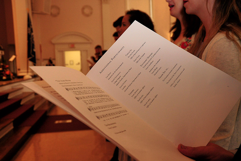 The program booklet from Elmhurst College's annual Founders' Honors Convocation is shown.