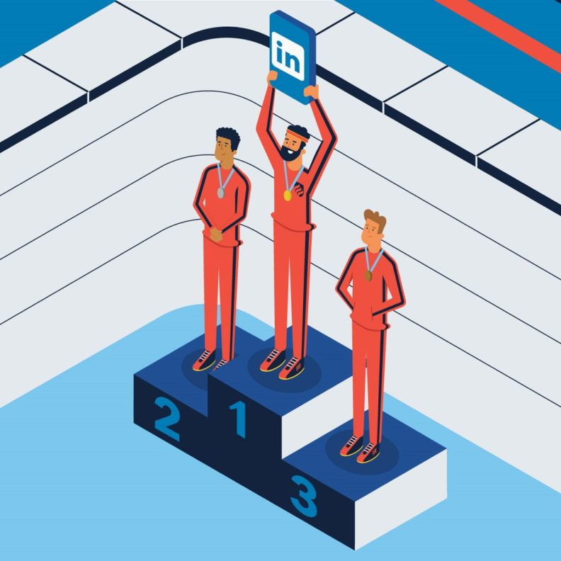 An illustration of students rewarded with medals for using LinkedIn profile tips to succeed in the job race.