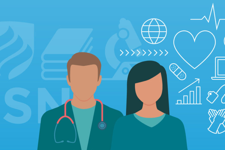 Illustration showing two students pursuing a BSN degree. What is a BSN? A four-year nursing degree.