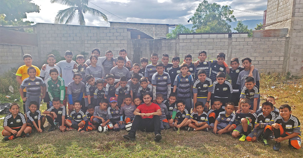 Elmhurst College student Dennis Arreaza started a youth soccer club in Guatemala and donates equipment from the U.S. to the team.