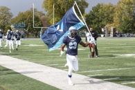 The start of the Elmhurst College Homecoming 2018 football game.