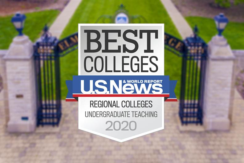 Elmhurst College's U.S. News ranking badge for undergraduate teaching