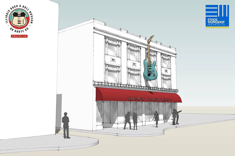 A rendering of the Illinois Rock & Roll Museum on Route 66 in Joliet, scheduled to partially open in 2020.