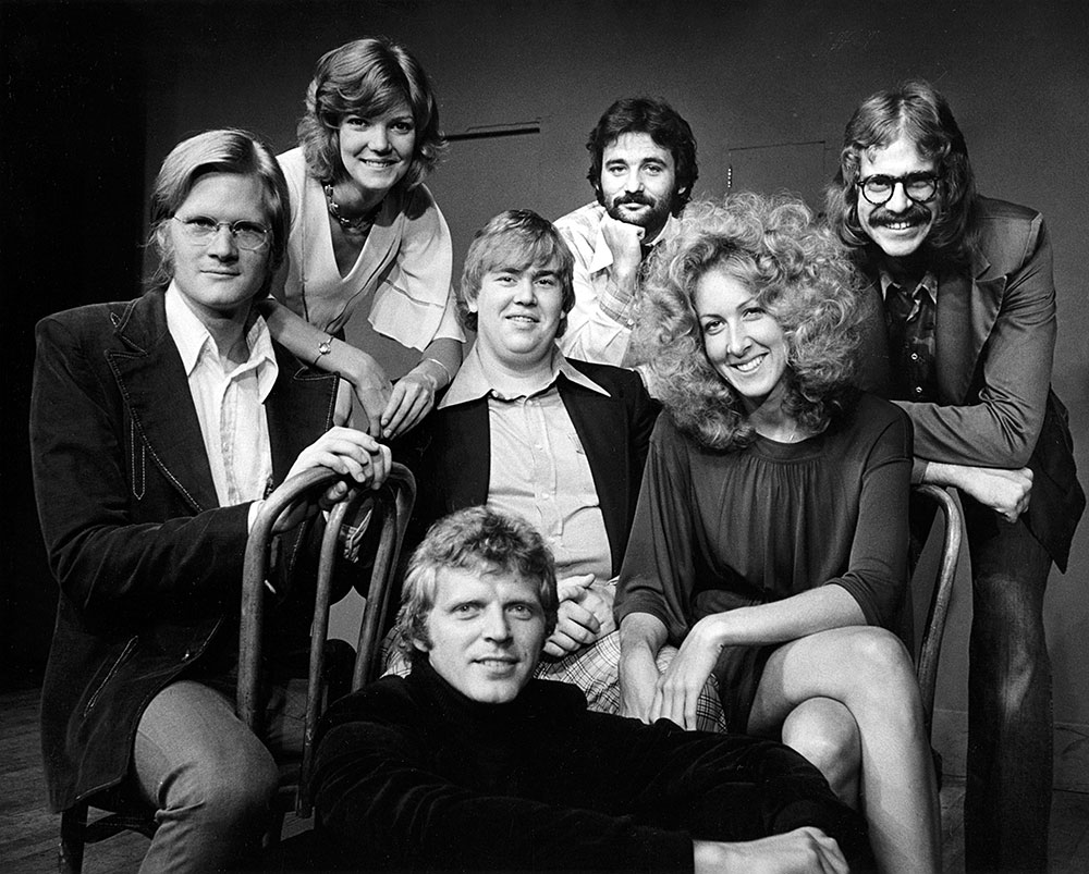 """Succession"" and ""Veep"" actor David Rasche is shown as part of a cast photo from the Second City comedy troupe in Chicago. His castmates included John Candy."