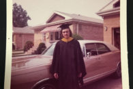 Elmhurst College alumnus Keith Reed is shown in a photo taken on his graduation day in the 1970s.