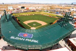 An aerial photo of Sloan Park baseball stadium in Mesa, Arizona.