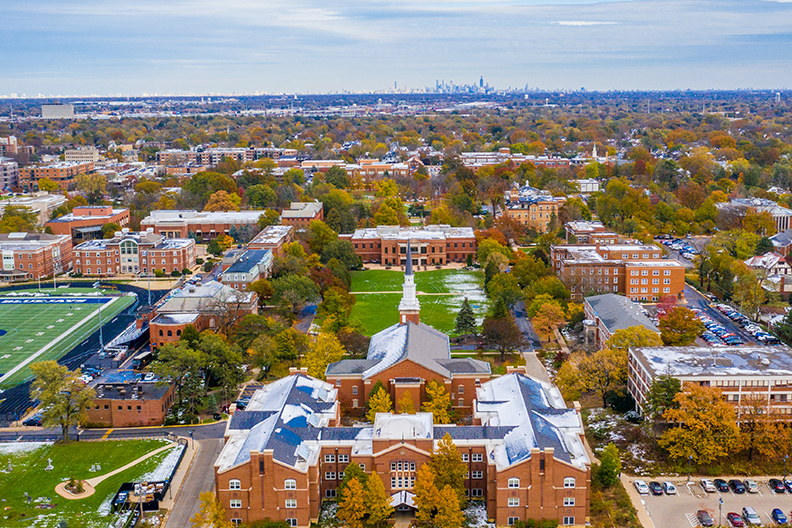 An aerial photograph of Elmhurst College, looking east from behind West Hall.