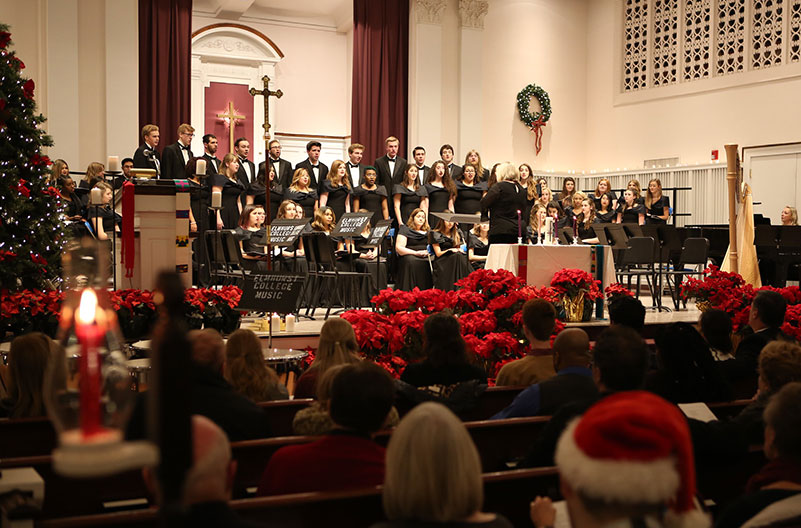 Elmhurst College choir and orchestra members perform for a festive audience at the 2018 Festival of Lessons and Carols inside Hammerschmidt Memorial Chapel.