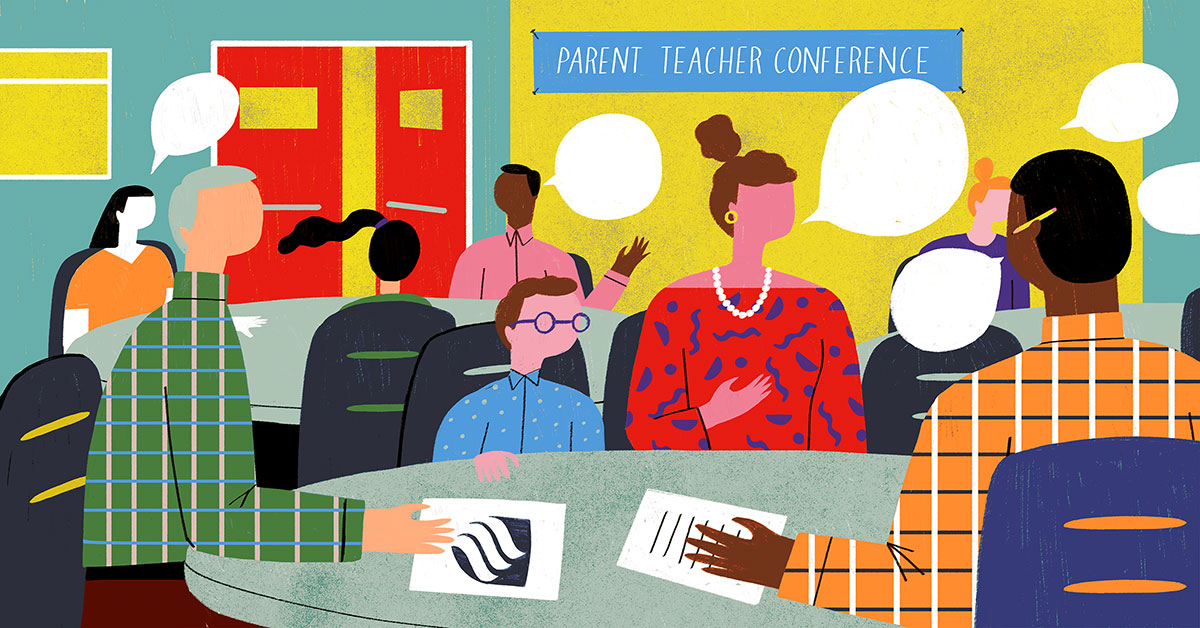 A colorful illustration featuring the parents of students talking to teachers at a parent teacher conference.