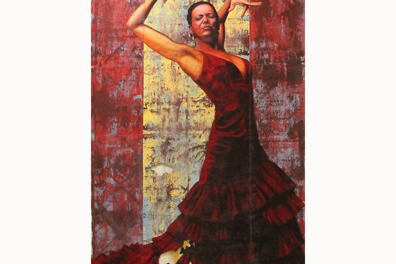 "The painting ""Flamenco,"" featuring a female dancer clad in a blood red dress, by artist and Elmhurst College faculty member Rafael Blanco."