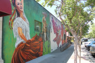 "The mural painting ""Michoacana,"" featuring themes of Mexico, by artist and Elmhurst College faculty member Rafael Blanco."