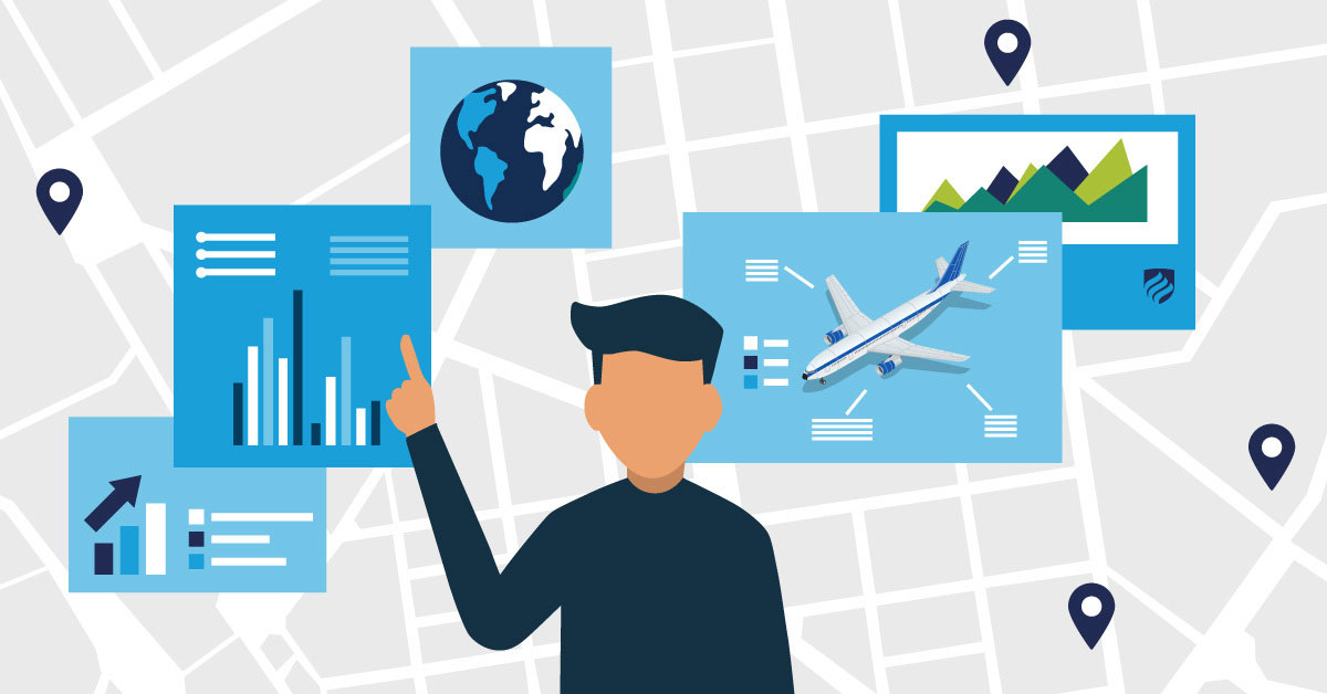 An illustration that shows supply chain delivery is a complex process involving location, product, timing and data.