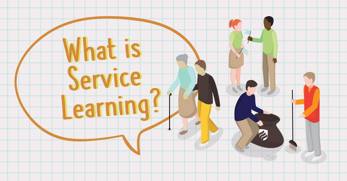 What is service learning? An educational system combining theory in the classroom with real-world community service.