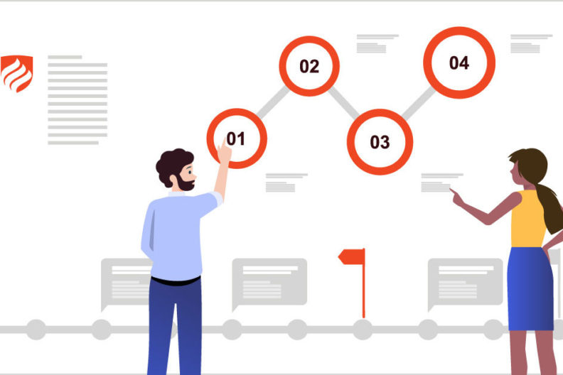 An illustration shows two project managers determining the critical path in project management by laying out all the tasks in their job from start to finish.