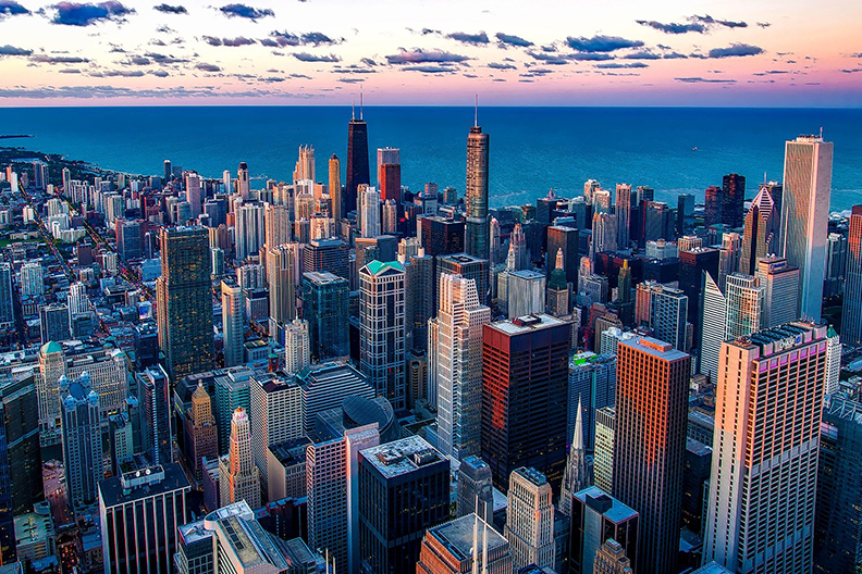 Aerial view of the Chicago skyline and Lake Michigan.