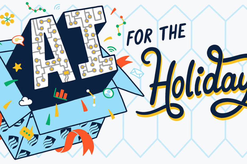 "Illustration that reads ""AI for the Holidays."" Artificial intelligence is fundamentally changing the practice of shopping in stores."