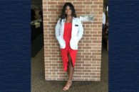 A photo of Elmhurst College student Allison Kightly, who received her white coat in the physician assistant program at Southern Illinois University.