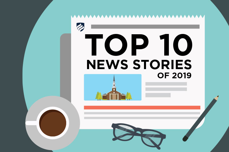"An illustration shows a newspaper with the headline ""Top 10 News Stories of 2019."""