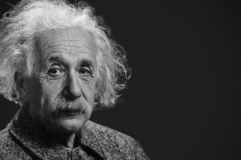 A black-and-white portrait photograph of Albert Einstein, who inspired Elmhurst College's Intellectual Curiosity Scholarship Competition for transfer students.