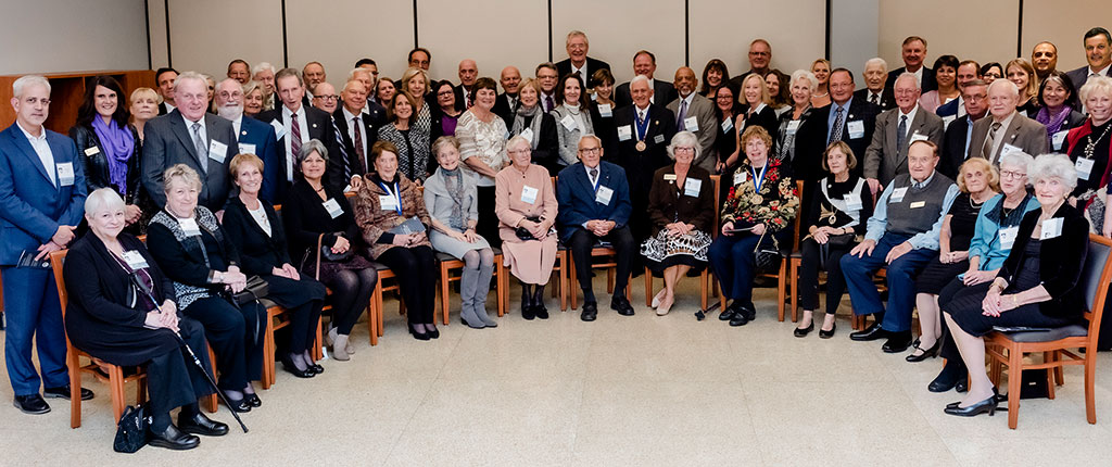 The members of Elmhurst College's President's Circle pose for a group photo at the Founders' Honors ceremony in 2019.