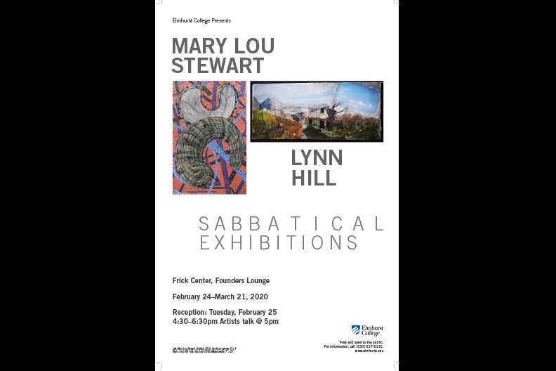 """The event poster for Elmhurst College's Department of Art winter 2020 faculty exhibition """"Sabbatical Exhibitions."""""""