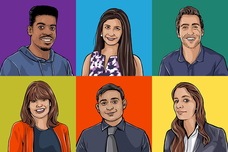 A colorful montage of six illustrations of Elmhurst students in a grid layout.