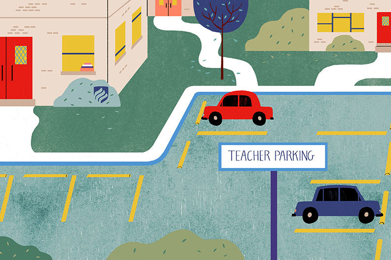 An illustration that shows a mostly empty parking lot for teachers. The so-called teacher shortage grabs headlines nationwide, but only by focusing on how teachers are supported in their careers will we address the problem.