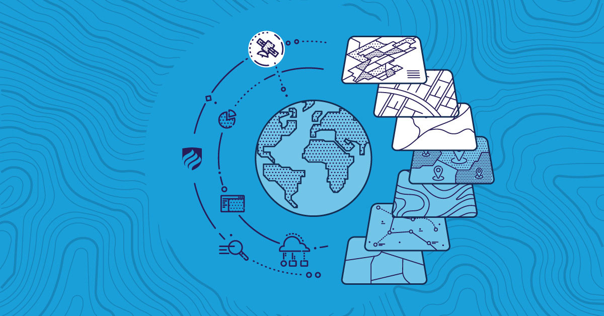 A blue illustration that shows the crucial skills for a GIS analyst to have, including coding and knowledge of geographic information systems.