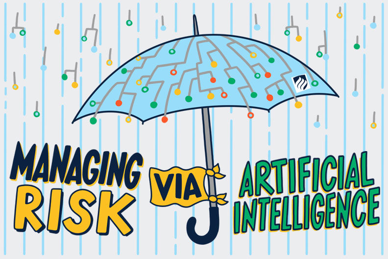 An illustration of an umbrella represents how companies are improving enterprise risk management by using artificial intelligence.