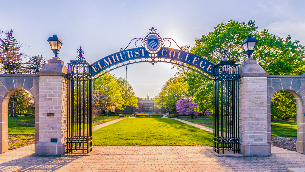 "The ""gates of knowledge"" welcome visitors to Elmhurst College's campus, located about 30 minutes from downtown Chicago."