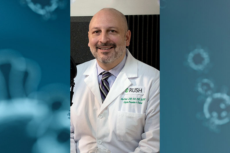 Elmhurst College alumnus Alexander Tomich '95 manages infection prevention and control at Rush University Medical Center.