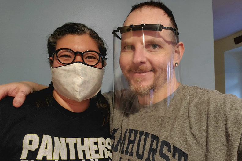 Dustan Creech, associate professor of art at Elmhurst College, and his wife, April Macatangay, are making face shields and fabric face masks.