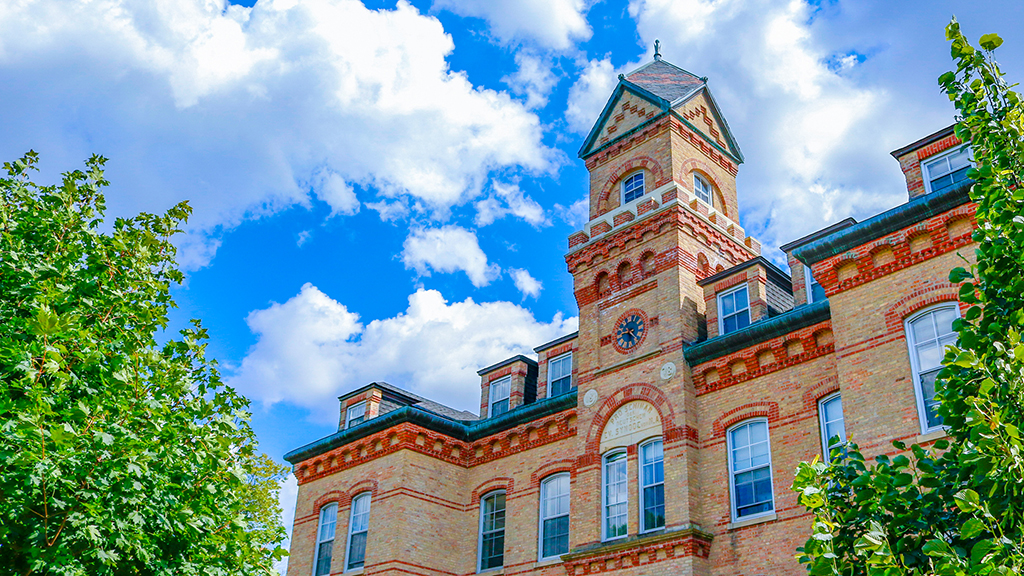 Old Main, on the campus of Elmhurst College in suburban Chicago, houses classrooms, a maker space and more.