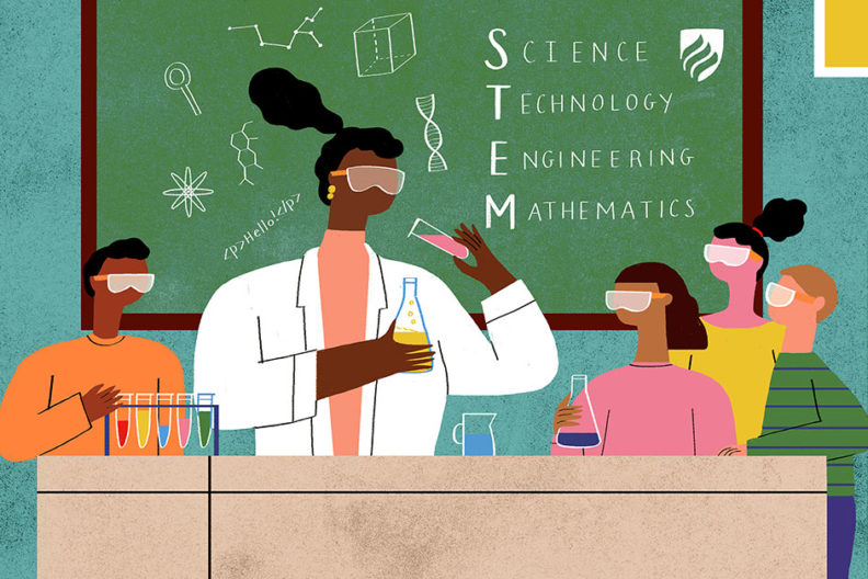 An illustration of a science teacher performing an experiment with her class. Well-trained STEM teachers are critical to our education system.