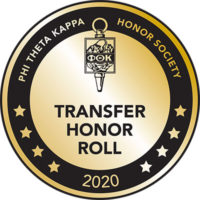 Phi Theta Kappa Honor Society Transfer Honor Roll 2020 badge