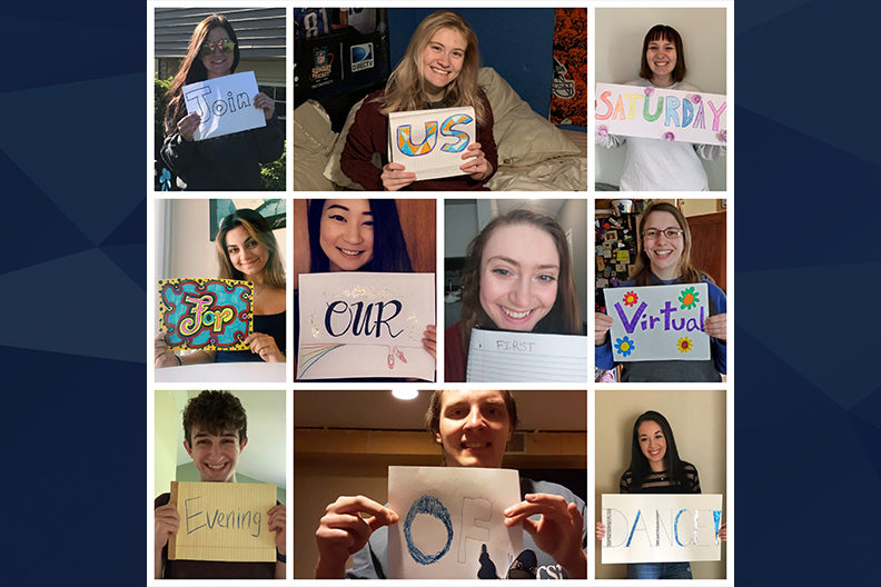 "A collage of dance students holding signs saying ""Join us Saturday for our first virtual evening of dance!"""