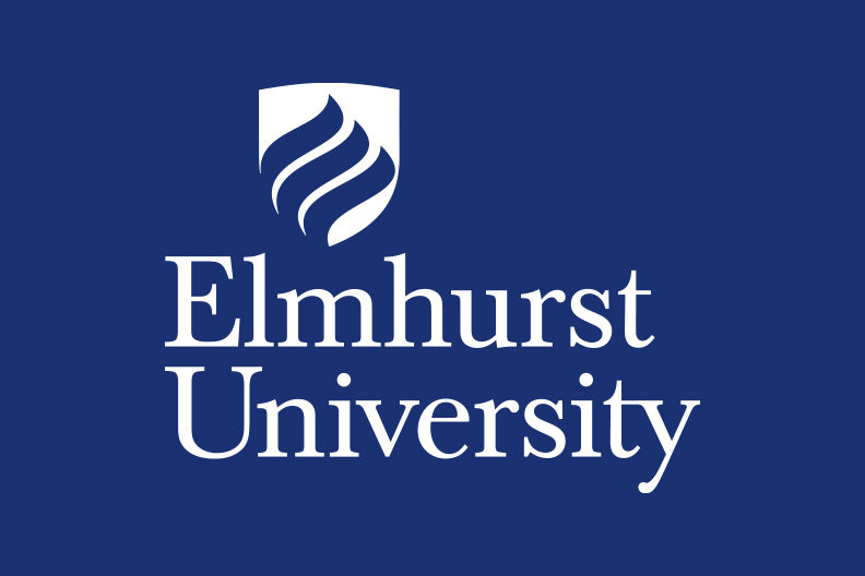 The Elmhurst University logo, in white, on a blue background.