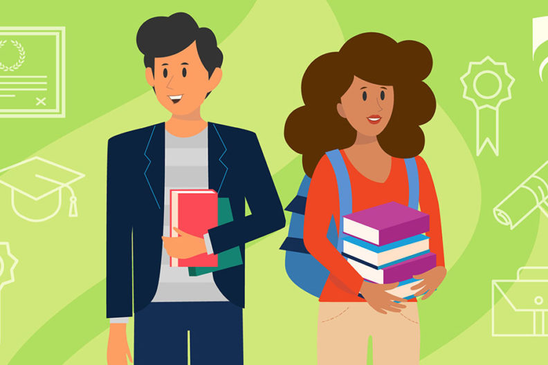 A colorful illustration of two part-time MBA students, one male and one female, balancing their work with classes to advance in their fields.