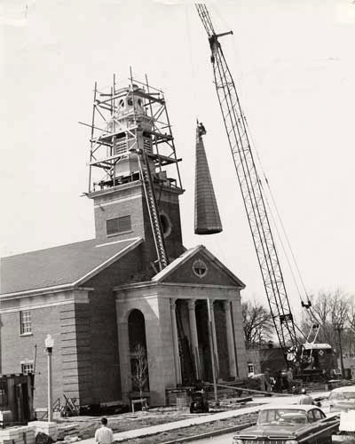 The addition of a steeple in 1959 marked the final phase of construction at Hammerschmidt Memorial Chapel.